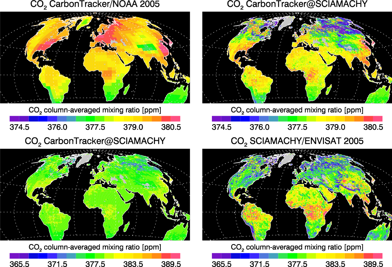 XCO2: CarbonTracker (NOAA) and SCIAMACHY (WFM-DOAS version 1.0)