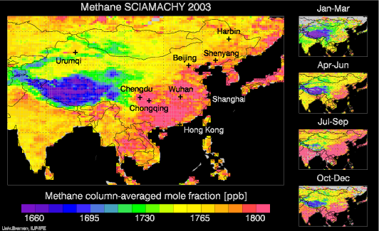 SCIAMACHY Methane over China and India