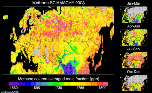 SCIAMACHY Methane over Europe and Asia