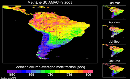 SCIAMACHY Methane over South America