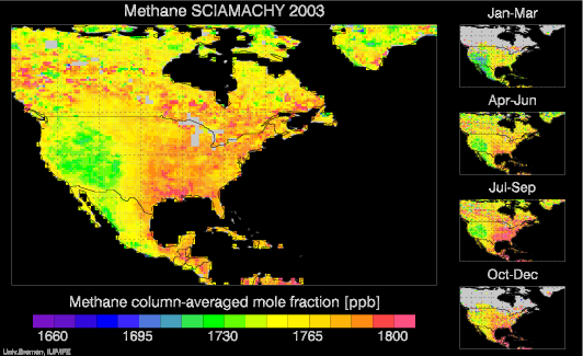 SCIAMACHY Methane over North America