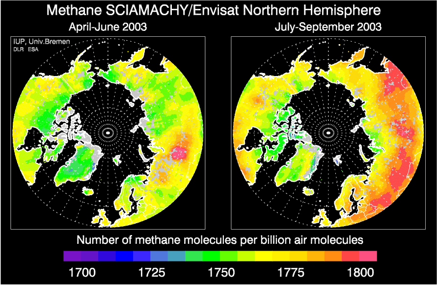 SCIAMACHY methane over the northern hemisphere