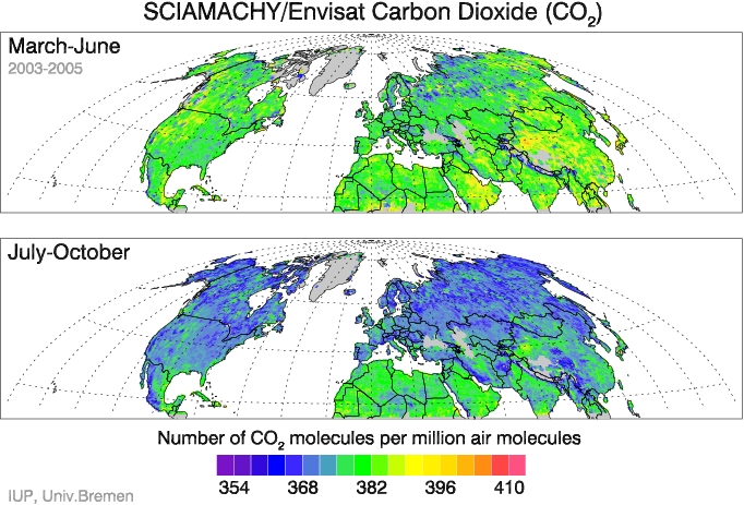 SCIAMACHY CO2 over the northern hemisphere