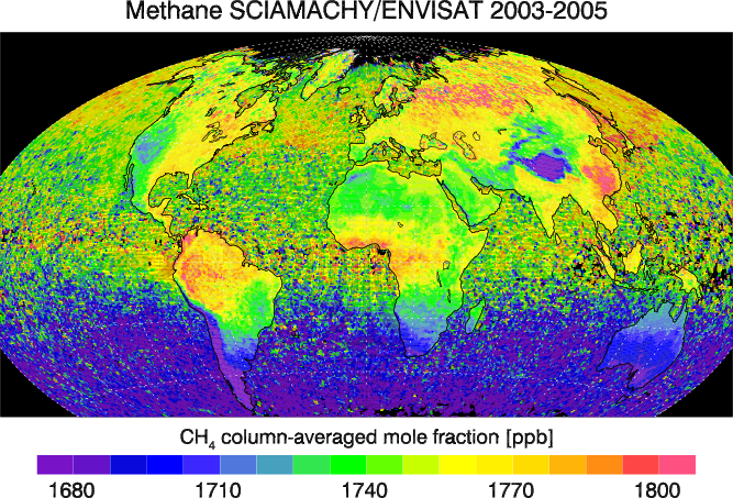 Global distribution of atmospheric methane